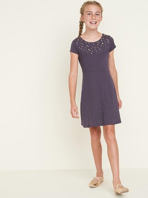 Jersey Fit & Flare Short Sleeve Dress for Girls | Short
