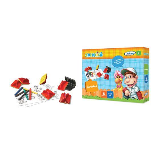 2300.9 - Carimbos Cocoricó | O carimbo contribui no desenvolvimento da percepção visual, coordenação motora e estimula a criatividade das crianças. Vem com 6 carimbos diferentes, bloco de papel e giz de cera para colorir. | Faixa etária: + 4 anos | Medidas: 24 x 5 x 18 cm | Licenciados | Xalingo Brinquedos | Crianças