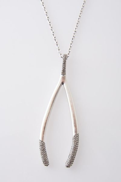 "30"" Pave Wishbone Necklace in Silver by House of Harlow 1960 for $75.00"