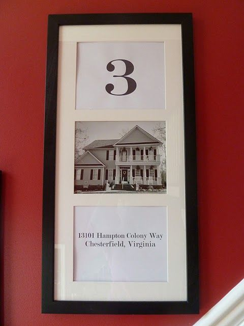 I love this idea.  This family is on their fifth home.  So, they have 5 of these hanging in their stairwell.  Great for military!!!