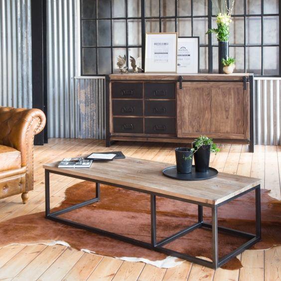 Buffet industriel porte coulissante bois naturel - Made in Meubles
