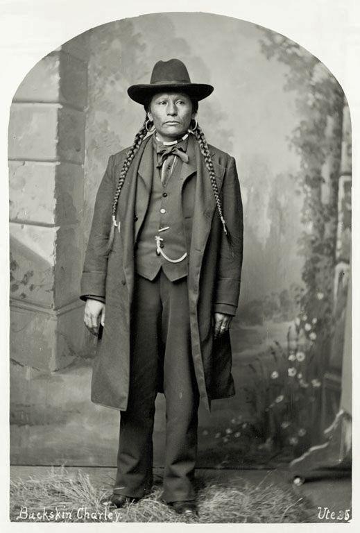 Full length Portrait of chief Buckskin Charlie, 1878