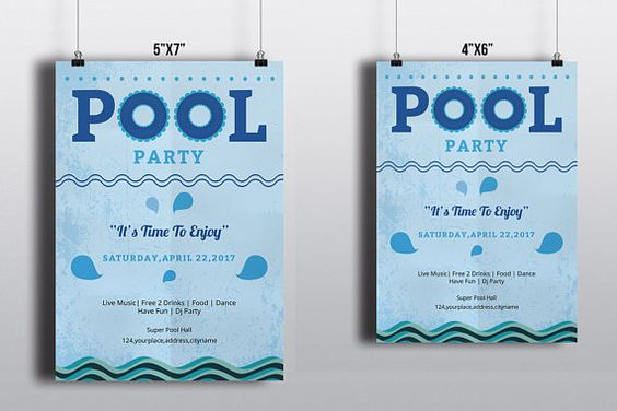 Pool Party Flyer Template Instant Download Photoshop and - pool party flyer template