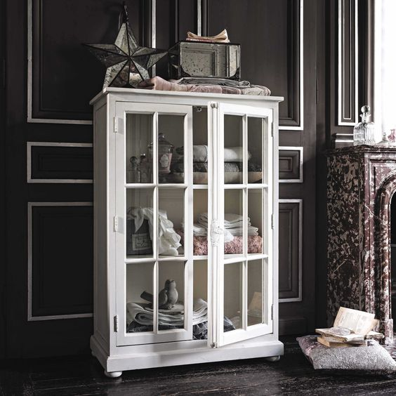 vitrine en manguier blanc cass l 87 cm castille maisons. Black Bedroom Furniture Sets. Home Design Ideas
