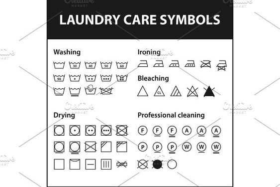 Icon Set Of Laundry Symbols Washing Instruction Symbols Cloth