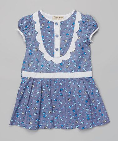 Another great find on #zulily! Blue Apple Puff-Sleeve Dress - Toddler & Girls #zulilyfinds