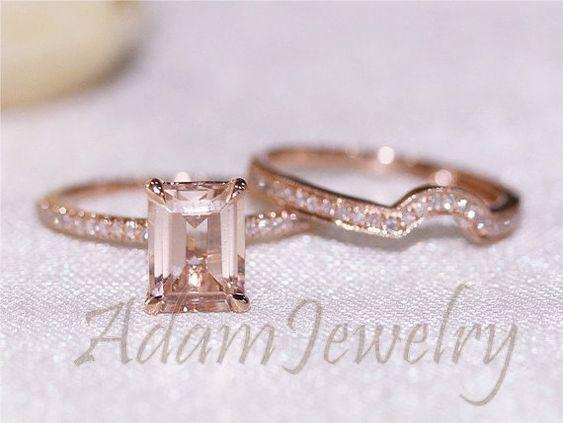 New Morganite Ring Set Discount 6x8mm Emerald Cut Morganite Ring 14K Rose G