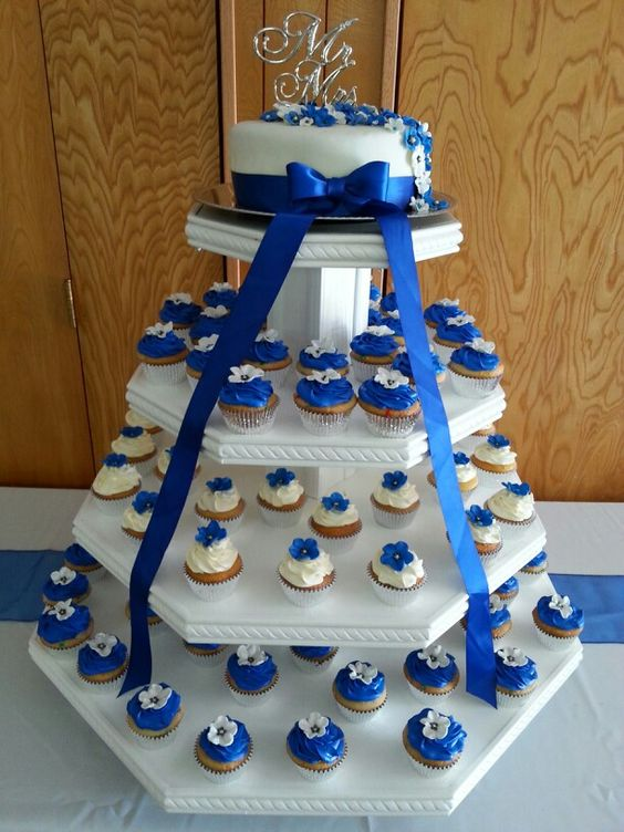 Blue Wedding Cake & Cupcakes | Things I Make ...