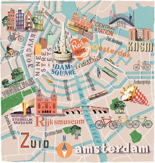 Amsterdam Cartographic by Anna Simmons Maps – Amsterdam Travel Map