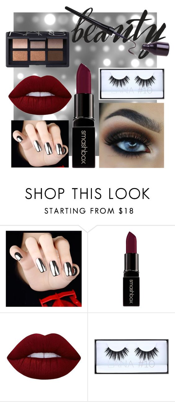 """after dark beauty"" by emily-kynoch ❤ liked on Polyvore featuring beauty, Smashbox, Lime Crime, Huda Beauty and NARS Cosmetics"