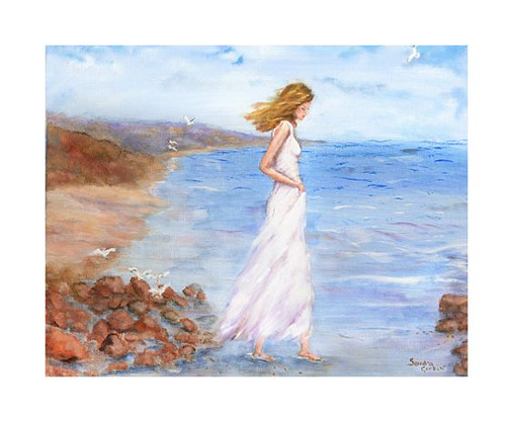 Stunning Woman Walking Along Sandy Beach Fine Art Print by FineArtbySandra woman in flower Pinterest
