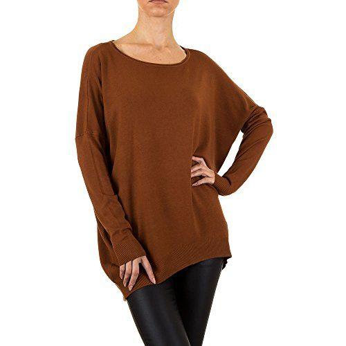 Ital Design Oversize Long Pullover Für Damen Braun