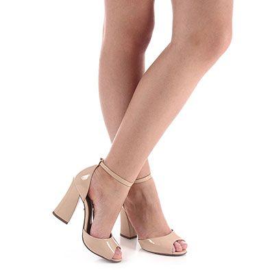 Sandália Salto Feminina Lara - Nude