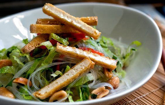 Rice Noodle Salad with Crispy Tofu and Lime Peanut Dressing