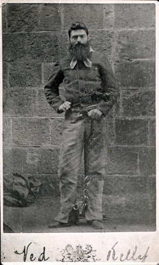 """Edward """"Ned"""" Kelly (June 1854 or 1855 – 11 November 1880) was an Irish Australian bushranger, here pictured in gaol on the day before his execution."""