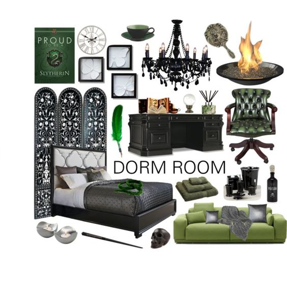 Slytherin themed bedroom