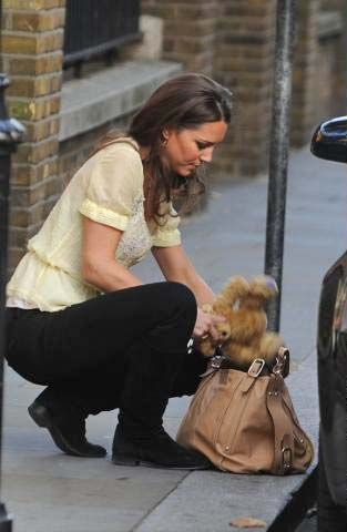 Kate Middleton :) She always shoves as much stuff in this tan purse as possible, haha.:
