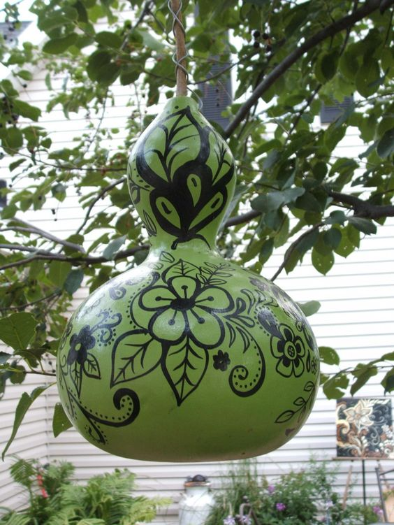 painted gourd, I'd like to do this.  My cousin was given a vase like this--really nice!: