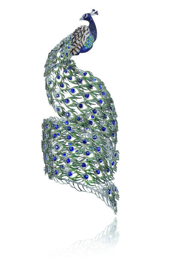 Chopard peacock bracelet.   brooch.  sapphire