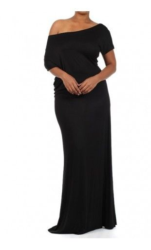 UrbanSew - Black Off Shoulder Maxi Dress (Plus Size)  $47.00 ...