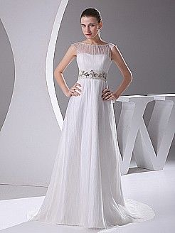 Elegant A Line Wedding Gown with Beaded Waist and Pleated Sheer Overlay - USD $178.99