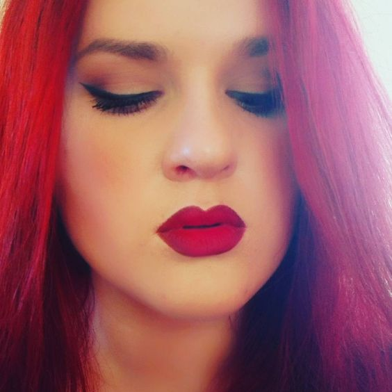 red is everywhere #redlips #redhair #makeup #love #it