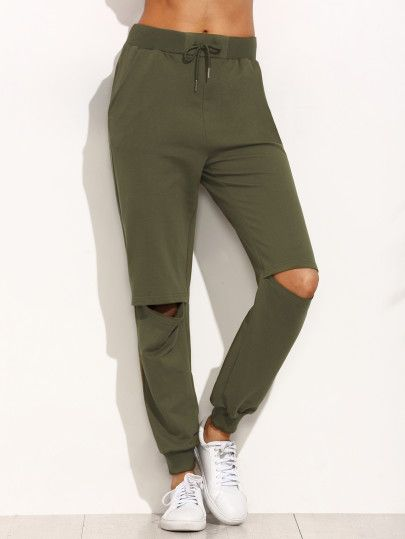 Army Green Tie Cut Out Knee Long Pants -SheIn(Sheinside) Mobile Site