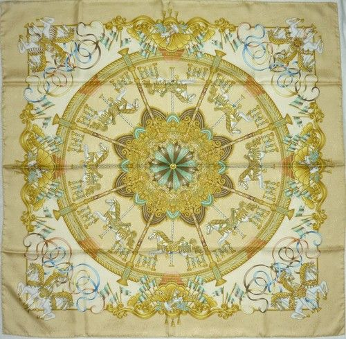 "HERMES MINT ""LUNA PARK"" by J Metz Yellow Jacquard Silk Scarf"