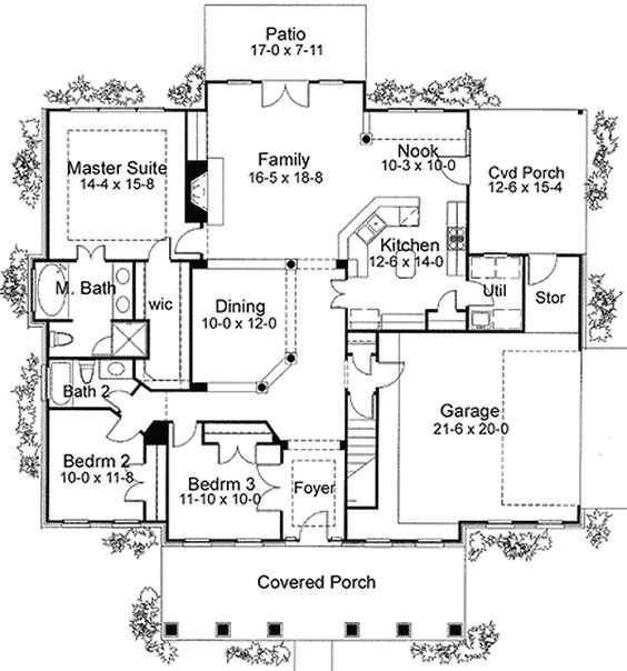 What are some floor plans for homes with covered porches?
