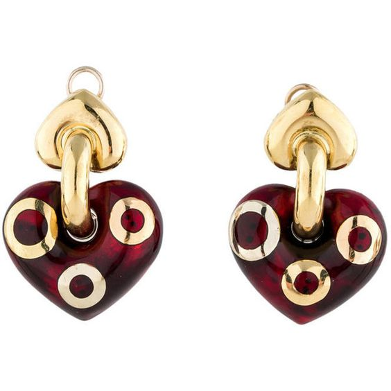 Pre-owned 18k Gold Resin Heart Earrings ($750) ❤ liked on Polyvore featuring jewelry, earrings, gold, 18 karat gold earrings, 18k yellow gold earrings, 18k gold earrings, resin earrings and womens jewellery
