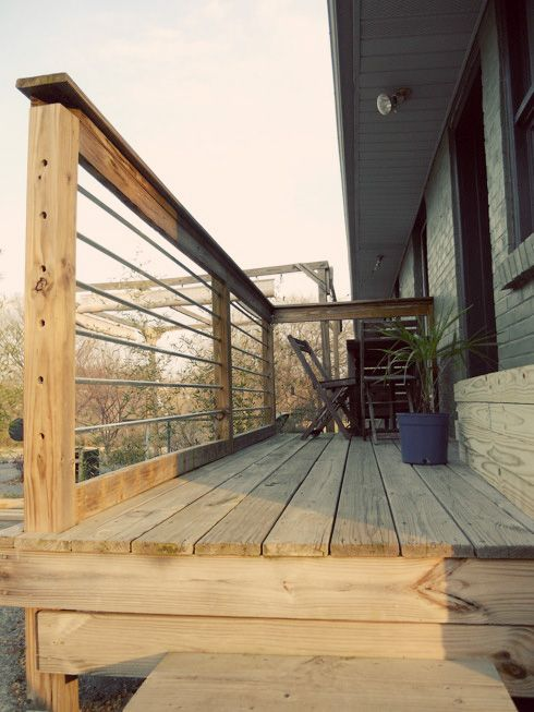metal handrails for deck stairs. diy modern deck upgrade: remove pickets, drill holes, insert standard electrical conduit. voilà! | treehouse pinterest decking, railings and metal handrails for stairs