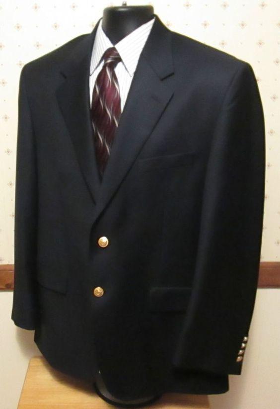 Ralph Lauren Men&39s Black Blazer Sport Coat 2 Gold Button SZ size