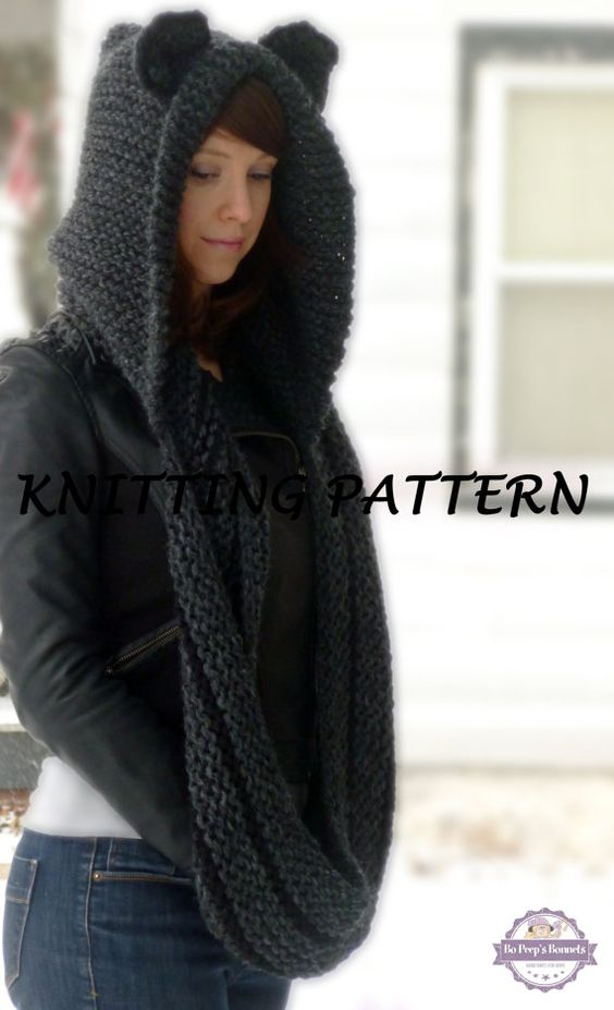 Knitting Pattern Infinity Scarf Hood : Cats, Knit patterns and Beanie hats on Pinterest