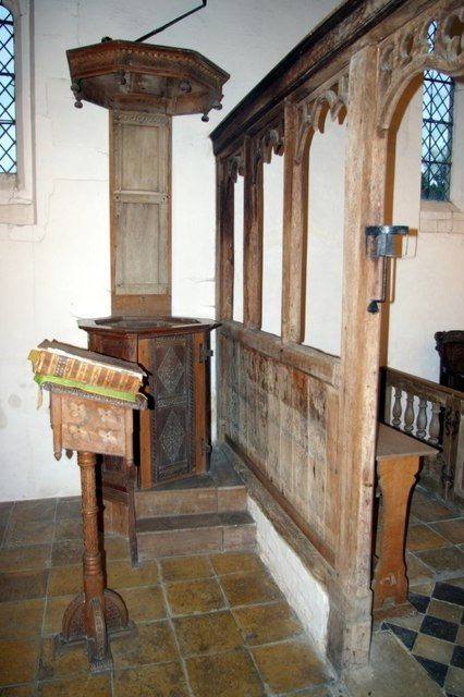 Pulpit and screen at Lower Gravenhurst Church by Tiger, via Geograph