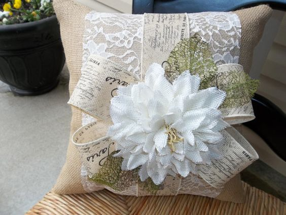 Romantic  Lace and Natural Burlap  17 X 17 Pillow by cindidavis1, $20.00