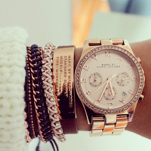 bracelets and rose gold watch. arm candy.