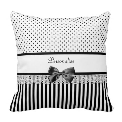 A girly Victorian style black and white pattern pillow with chic polka dots on the top, stylish stripes on the bottom. Personalize this fashionable set by adding your name to the divider of eyelet lace embellished with a trendy black ribbon tied into a bow.