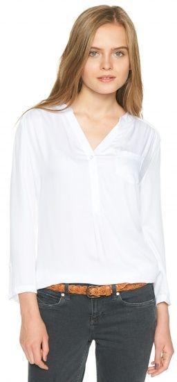 Tunika-Bluse mit Tasche für Frauen (unifarben, 7/8-Ärmel mit V-Ausschnitt und kleiner Knopfleiste) - TOM TAILOR