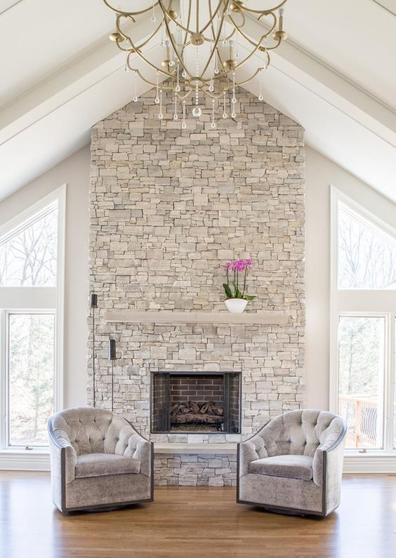 Realstone Systems Berkshire Buff  Estate Stone Panels. Fireplace.