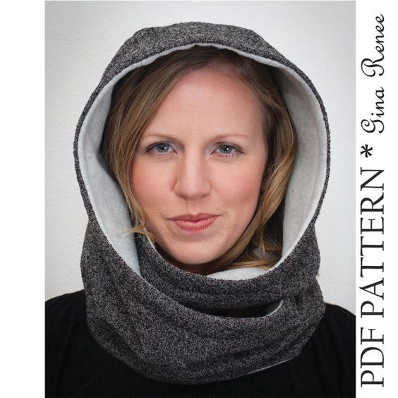 Hooded Scarf Pattern. Hood Scarf Sewing pattern. Infinity Scarf sewing patter...