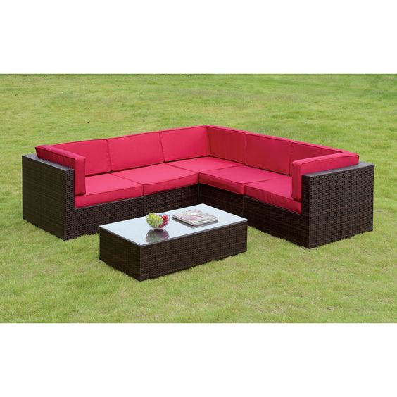 Furniture of America Marisa Contemporary 2-piece Wicker Sectional and Table Set