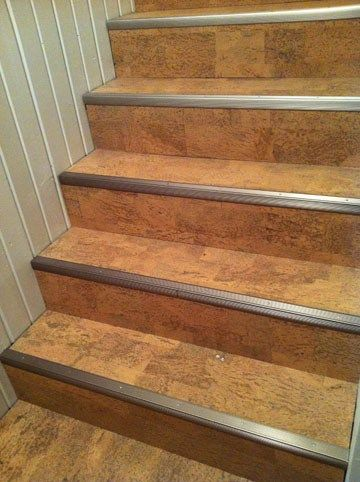 basement stairs and more stairs corks stair treads cork flooring