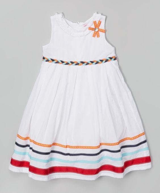 White Stripe A-Line Dress - Infant, Toddler & Girls | zulily