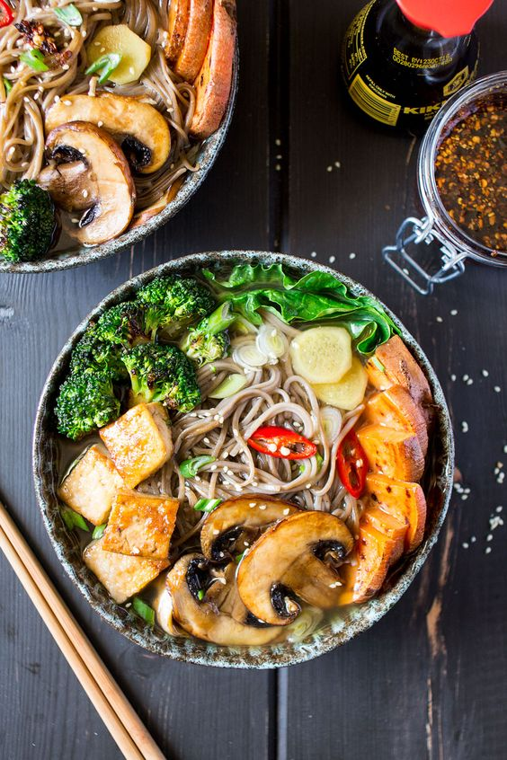 Ramen with grilled vegetables and tofu is a delicious, vegan and gluten-free meal that will warm you up on a cold day and give your immune system a boost.