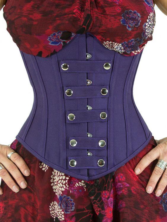 65263c8eb Steel Boned Limited Edition Underbust Cotton Corset purple (CS-345)