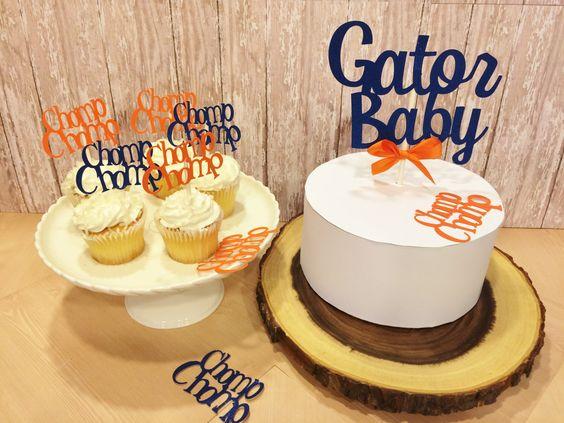 Florida Gator Baby Shower Decorations, Florida Gators Cake Topper, Blue and Orange Baby Shower Decor,Ships 3-5days by PaperExpressionsPlus on Etsy https://www.etsy.com/listing/270873829/florida-gator-baby-shower-decorations