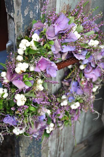 lavender flowers ~white berries~natural wreath