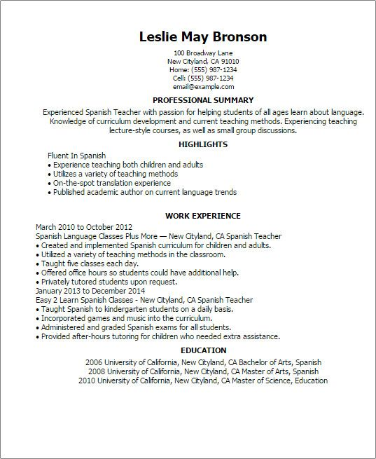 Resume Templates In Spanish Resume Templates Teacher Resume Examples Resume Examples Good Resume Examples