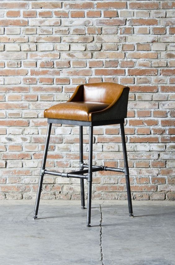Bar Stool With Upholstered Leather Low Camel Back Seat