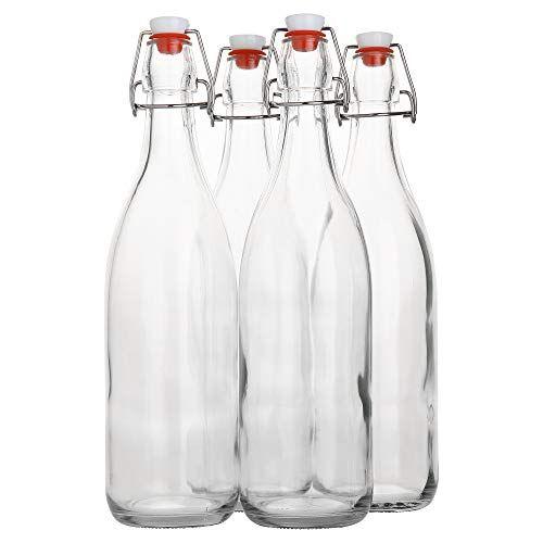 Flip Top Glass Bottle 1 Liter 33 Fl Oz Pack Of 4 Swing Top Brewing Bottle With Sto In 2020 Glass Bottle With Stopper Glass Bottles With Corks Bottle Stoppers